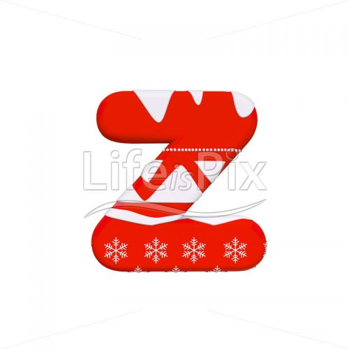 Christmas font Z – Small 3d letter – Royalty free stock photos, illustrations and 3d letters fonts
