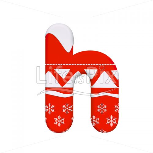 Santa Claus font H – Small 3d character – Royalty free stock photos, illustrations and 3d letters fonts