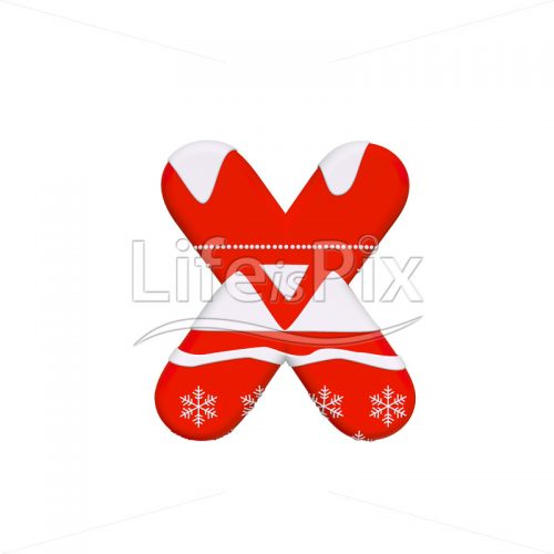 Santa Claus letter X – Lower-case 3d character – Royalty free stock photos, illustrations and 3d letters fonts