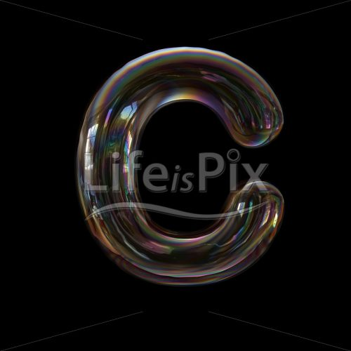 Soap bubble letter C – large 3d character – Royalty free stock photos, illustrations and 3d letters fonts