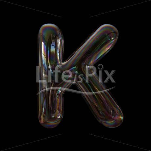 Soap bubble letter K – Large 3d character – Royalty free stock photos, illustrations and 3d letters fonts