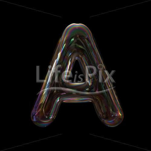 Water soap bubble letter A – Uppercase 3d font – Royalty free stock photos, illustrations and 3d letters fonts