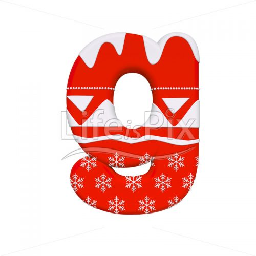 Winter character G – Lowercase 3d letter – Royalty free stock photos, illustrations and 3d letters fonts
