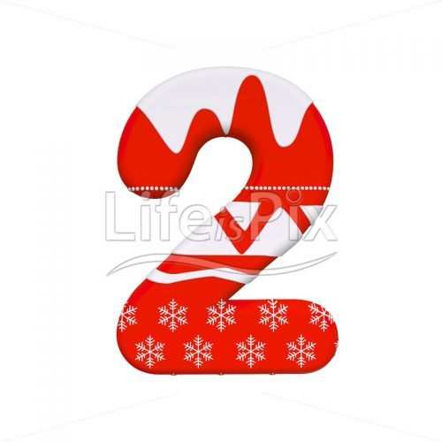 Xmas digit 2 –  3d numeral – Royalty free stock photos, illustrations and 3d letters fonts