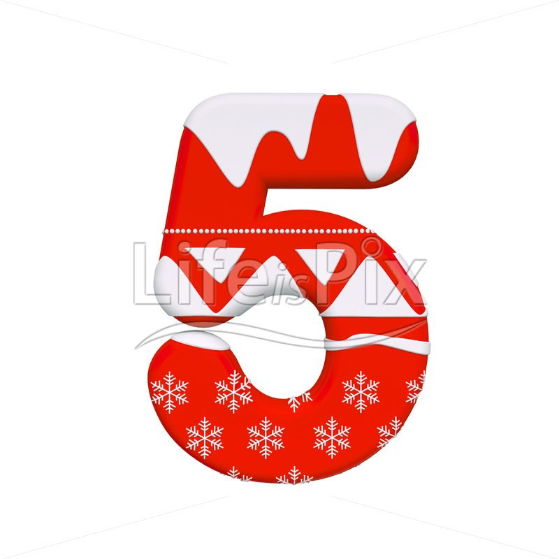 Xmas digit 5 –  3d numeral – Royalty free stock photos, illustrations and 3d letters fonts