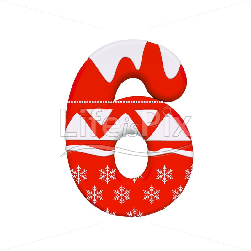 Xmas digit 6 –  3d numeral – Royalty free stock photos, illustrations and 3d letters fonts