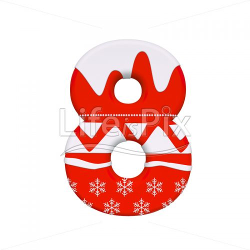 Xmas digit 8 –  3d numeral – Royalty free stock photos, illustrations and 3d letters fonts