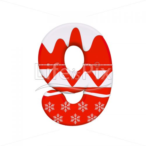 Xmas digit 9 –  3d numeral – Royalty free stock photos, illustrations and 3d letters fonts