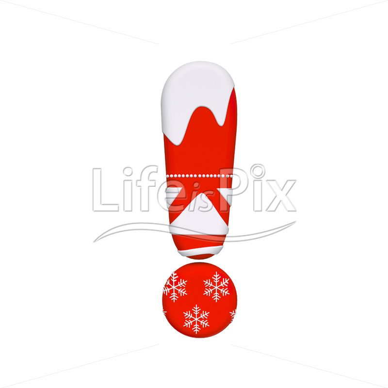 Xmas exclamation point – 3d symbol – Royalty free stock photos, illustrations and 3d letters fonts