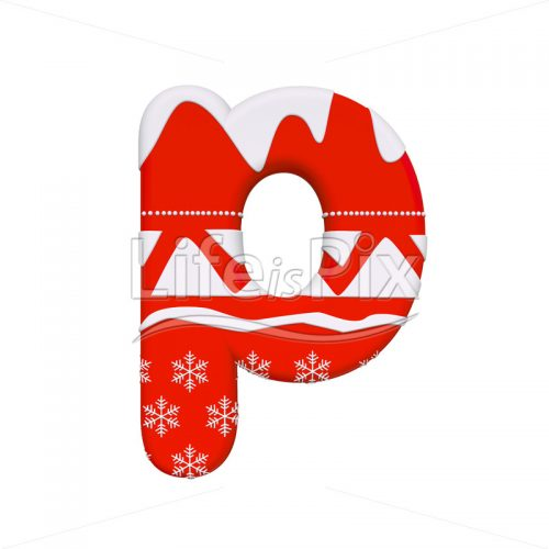 Xmas font P – Small 3d letter – Royalty free stock photos, illustrations and 3d letters fonts