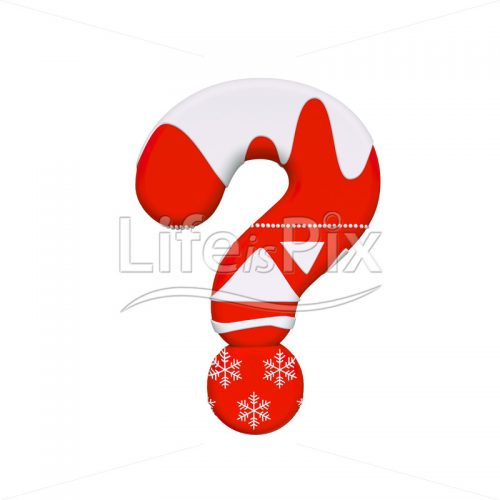 Xmas interrogation point – 3d sign – Royalty free stock photos, illustrations and 3d letters fonts