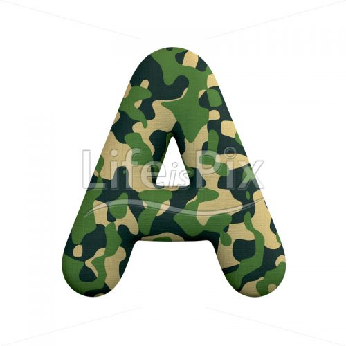 Camouflage letter A – Uppercase 3d font – Royalty free stock photos, illustrations and 3d letters fonts
