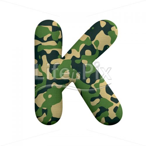 Commando letter K – Large 3d character – Royalty free stock photos, illustrations and 3d letters fonts