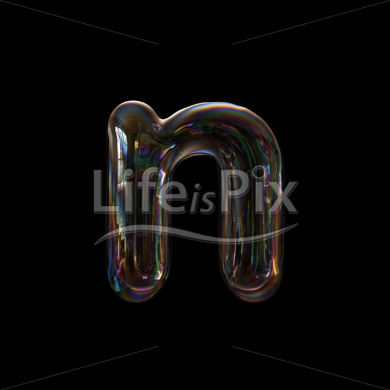 Soap bubble font N – Lower-case 3d character – Royalty free stock photos, illustrations and 3d letters fonts