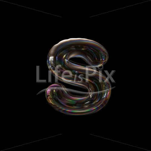 Soap bubble font S – Lower-case 3d character – Royalty free stock photos, illustrations and 3d letters fonts