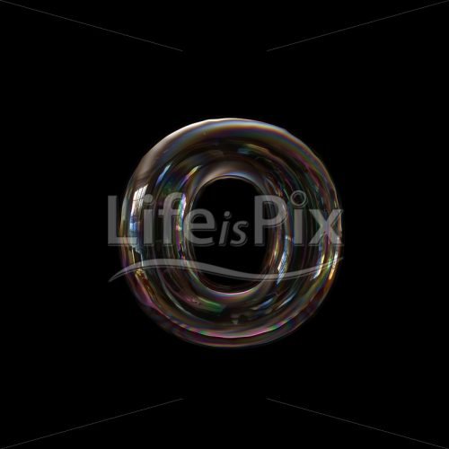 Water soap bubble letter O – Lowercase 3d character – Royalty free stock photos, illustrations and 3d letters fonts
