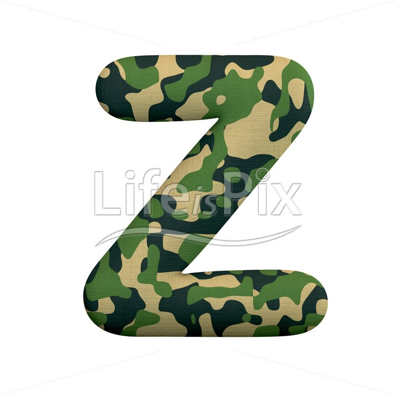Army font Z – Capital 3d character – Royalty free stock photos, illustrations and 3d letters fonts