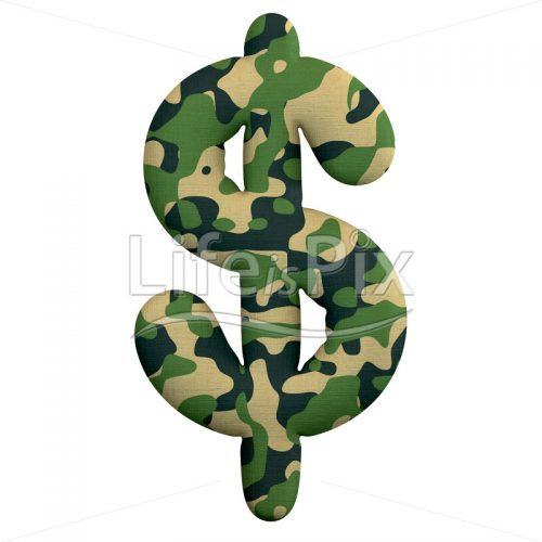 Camo Dollar currency symbol – 3d Business symbol – Royalty free stock photos, illustrations and 3d letters fonts