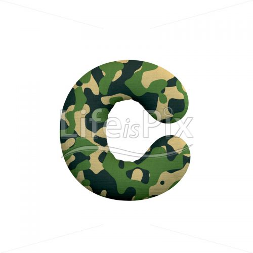 Camo font C – Small 3d letter – Royalty free stock photos, illustrations and 3d letters fonts