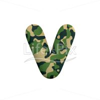 Camo letter V – Lowercase 3d character – Royalty free stock photos, illustrations and 3d letters fonts
