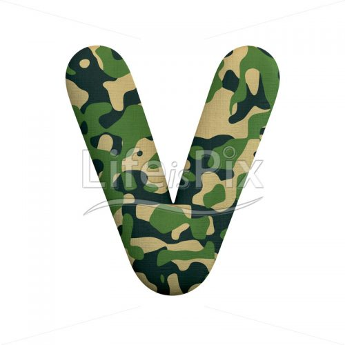 Camouflage letter V – Capital 3d font – Royalty free stock photos, illustrations and 3d letters fonts