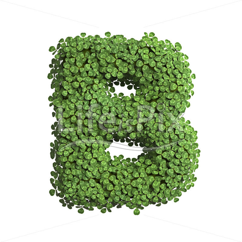 clover letter B – large 3d character – Royalty free stock photos, illustrations and 3d letters fonts
