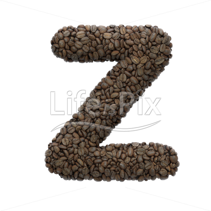 Coffee font Z – Capital 3d character – Royalty free stock photos, illustrations and 3d letters fonts