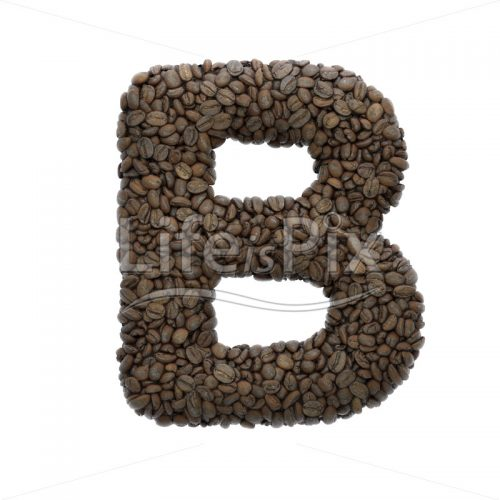 Coffee letter B – large 3d character – Royalty free stock photos, illustrations and 3d letters fonts
