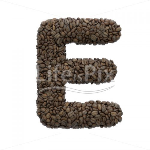 Coffee letter E – large 3d font – Royalty free stock photos, illustrations and 3d letters fonts