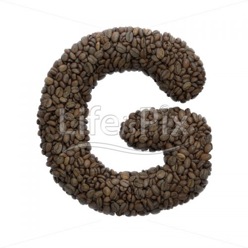 Coffee letter G – large 3d letter – Royalty free stock photos, illustrations and 3d letters fonts