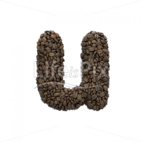 Coffee letter U – Lower-case 3d font – Royalty free stock photos, illustrations and 3d letters fonts