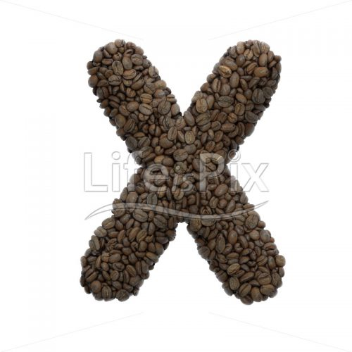 Coffee letter X – Capital 3d font – Royalty free stock photos, illustrations and 3d letters fonts