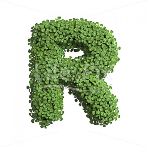 clover letter R – Capital 3d character – Royalty free stock photos, illustrations and 3d letters fonts