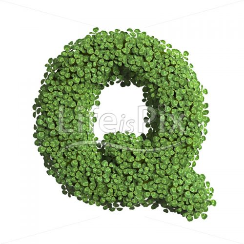 cloverfield letter Q – large 3d letter – Royalty free stock photos, illustrations and 3d letters fonts
