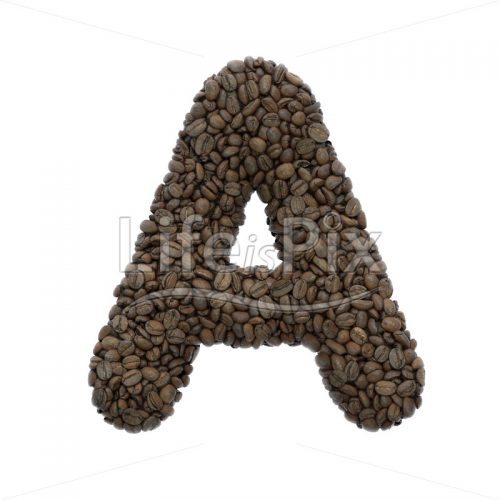 coffee beans letter A – Uppercase 3d font – Royalty free stock photos, illustrations and 3d letters fonts