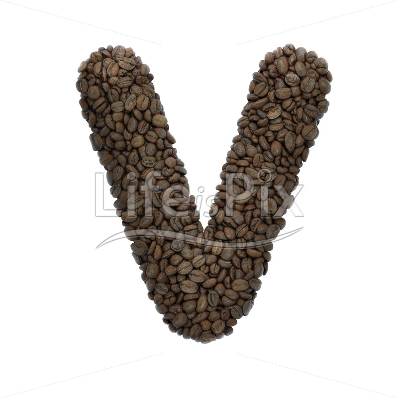 coffee beans letter V – Capital 3d font – Royalty free stock photos, illustrations and 3d letters fonts