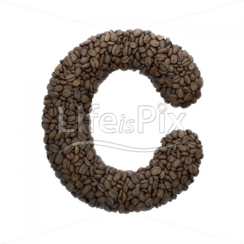 coffee letter C – large 3d character – Royalty free stock photos, illustrations and 3d letters fonts
