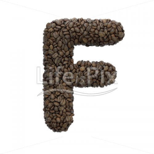 coffee letter F – Capital 3d character – Royalty free stock photos, illustrations and 3d letters fonts