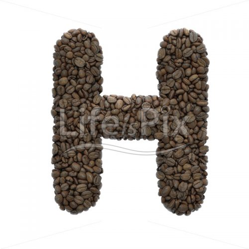 coffee letter H – large 3d font – Royalty free stock photos, illustrations and 3d letters fonts