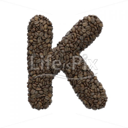 coffee letter K – Large 3d character – Royalty free stock photos, illustrations and 3d letters fonts