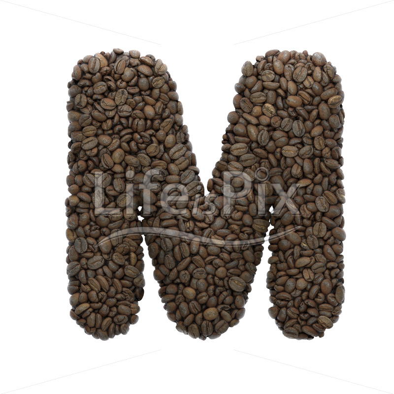 coffee letter M – Upper-case 3d font – Royalty free stock photos, illustrations and 3d letters fonts