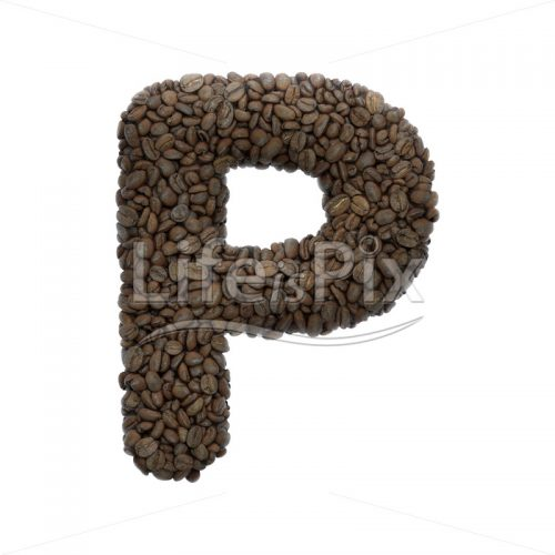 coffee letter P – Capital 3d letter – Royalty free stock photos, illustrations and 3d letters fonts