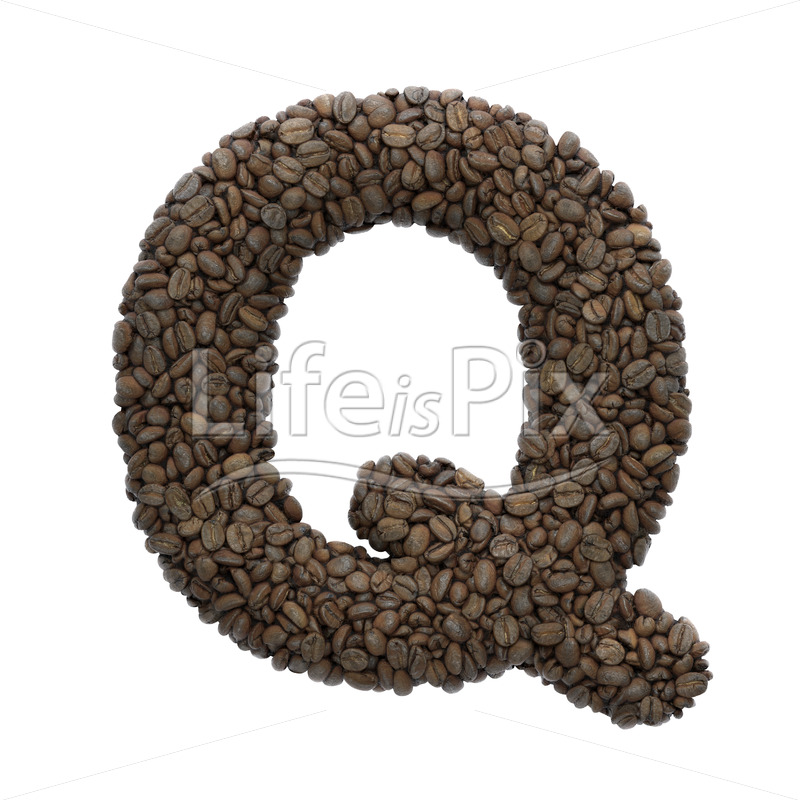 coffee letter Q – large 3d letter – Royalty free stock photos, illustrations and 3d letters fonts
