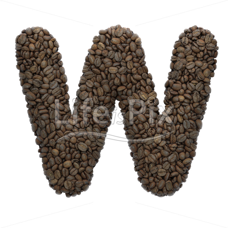 coffee letter W – Uppercase 3d character – Royalty free stock photos, illustrations and 3d letters fonts