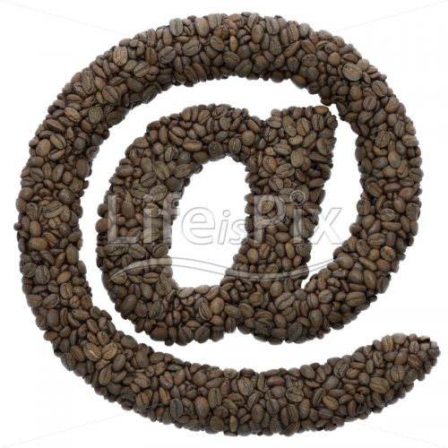 roasted beans Arobase symbol – 3d at symbol – Royalty free stock photos, illustrations and 3d letters fonts