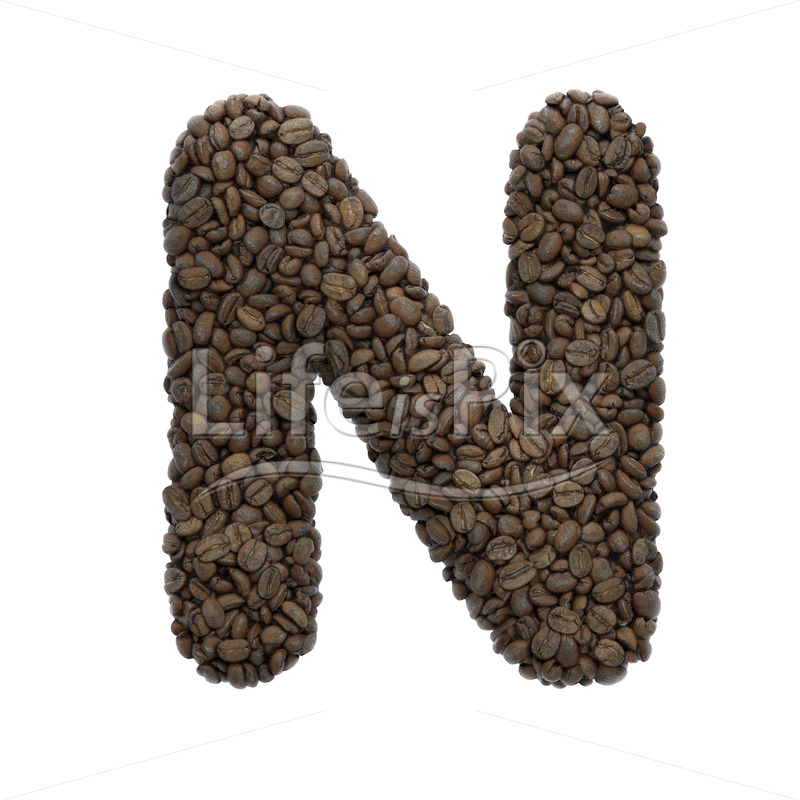 roasted beans letter N – Uppercase 3d character – Royalty free stock photos, illustrations and 3d letters fonts