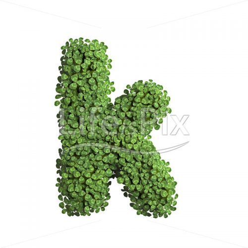 spring letter K – Lower-case 3d font – Royalty free stock photos, illustrations and 3d letters fonts