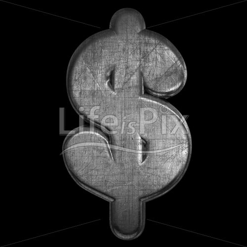 brushed iron Dollar currency symbol – 3d Business symbol – Royalty free stock photos, illustrations and 3d letters fonts