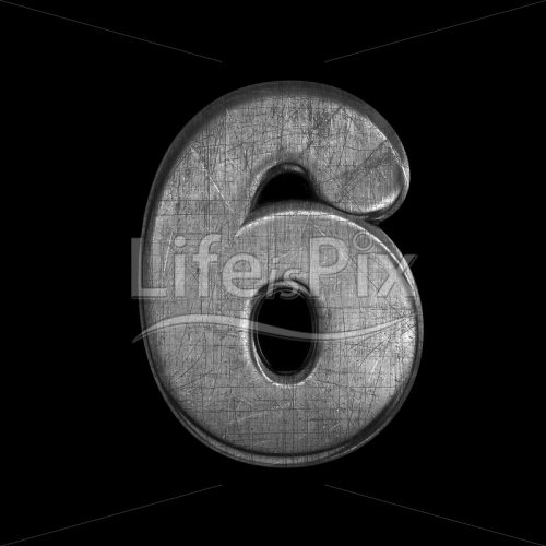 brushed iron digit 6 –  3d numeral – Royalty free stock photos, illustrations and 3d letters fonts