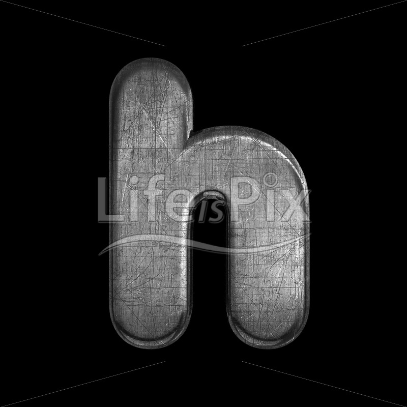brushed metal font H – Small 3d character – Royalty free stock photos, illustrations and 3d letters fonts